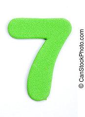 The digit seven in foam material.
