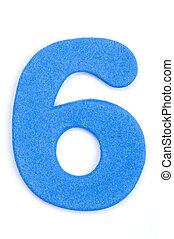 The digit six in foam material.