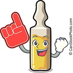 Foam finger ampoule mascot cartoon style vector illustration