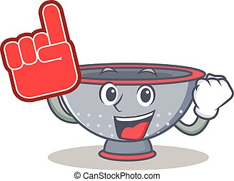 Foam finger colander utensil character cartoon vector...
