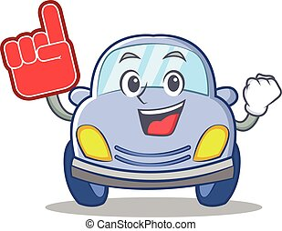 Foam finger cute car character cartoon vector illustration