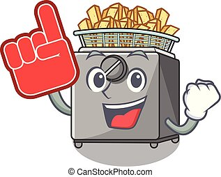 Foam finger deep fryer machine isolated on mascot vector...