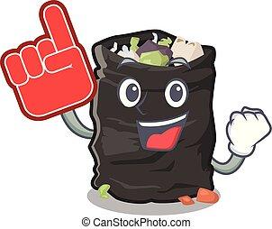 Foam finger garbage bag behind the character door vector illustration