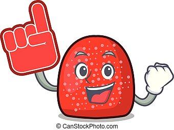 Foam finger gumdrop mascot cartoon style vector illustration