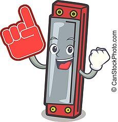 Foam finger harmonica mascot cartoon style