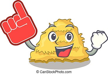 Foam finger hay bale mascot cartoon vector illustration
