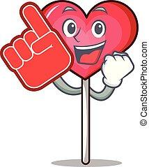 Foam finger heart lollipop mascot cartoon vector ...