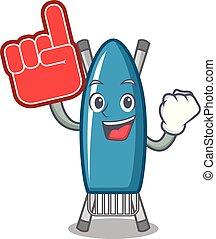 Foam finger iron board mascot cartoon vector illustration