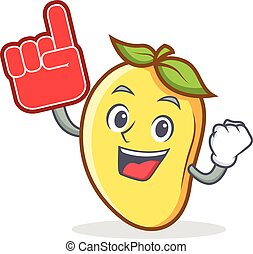 Foam finger mango character cartoon mascot vector...