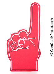 Red foam hand showing the number one, used for sports events. Isolated on white. (foam texture may appear similar to noise)