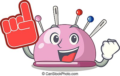 Foam finger pincushion a cartoon pins for sewing vector...
