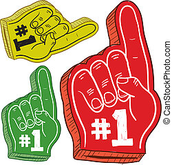 Foam finger sketch - Doodle style colorful foam fingers used...
