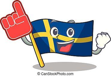 Foam finger swede flags flutter on character pole vector...
