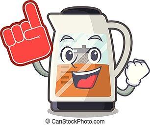 Foam finger tea maker in the character refrigerators vector ...