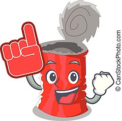 Foam finger tincan ribbed metal character a canned vector...