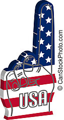 Foam finger with USA american flag in 3d