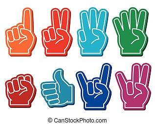 Foam fingers vector set. Gesture victory and souvenir...