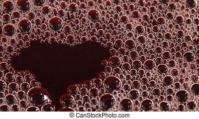 Foam in the cherry juice - Foam Bubbles in cherry juice....