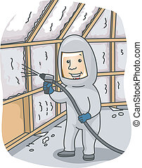 Foam Insulation - Illustration of a Man Spraying Foam...