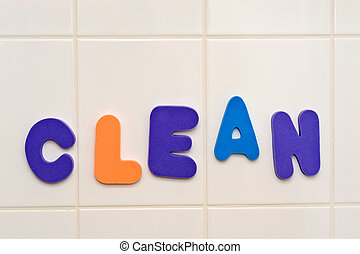 Foam letters CLEAN