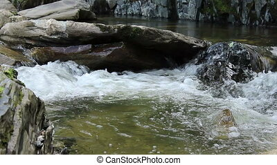Foam on a River Whirlpool - A whirlpool of cold mountain...