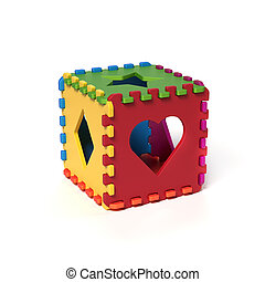foam pads forming cubical puzzle