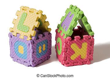 Foam puzzle houses