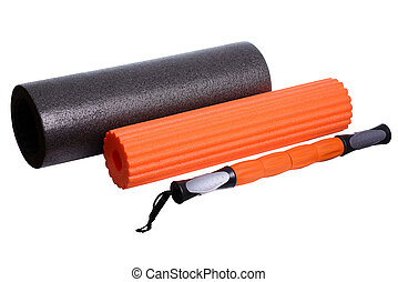 Foam Roller Gym Fitness Equipment Isolated on White...