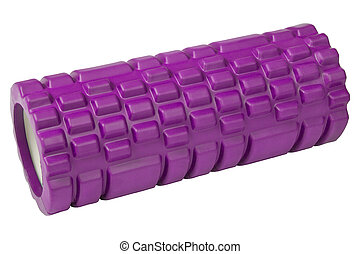 Foam roller pink gym fitness equipment for massage Isolated on white background.