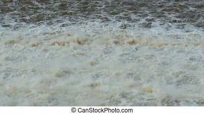 foaming water flow  waterfall dam with sound