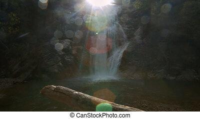 Foamy Waterfall Runs to Lake under Scorching Rays -...