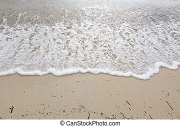 Foamy wave on sandy beach