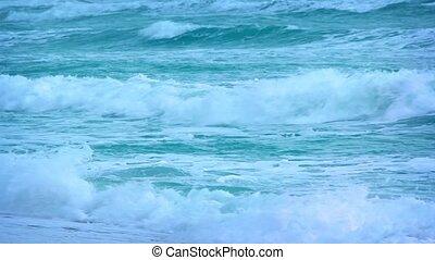 Foamy Waves on a Tropical Beach