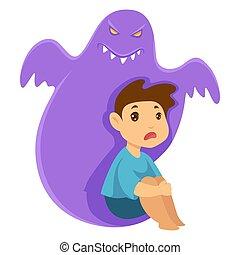 fobia, monstruo, pesadilla, niño, imaginario, criatura