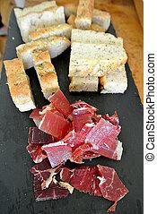 Focaccia and ham