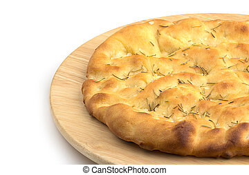 focaccia in a wooden plate on white background