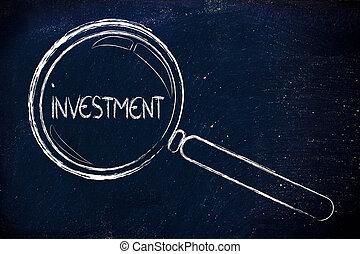 focalizar, ligado, investimento, lupa, desenho