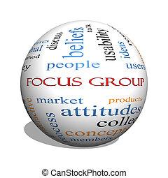 focalizzi gruppo, 3d, sfera, parola, nuvola, concetto