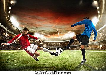 foci játék, -ban, a, stadion