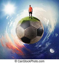 foci játékos, alatt, egy, focilabda, bolygó
