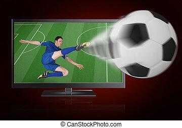 foci játékos, alatt, kék, rúgás, labda, ki, közül, tv, ellen, piros háttér, noha, könyvcímrajz
