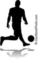 foci játékos, futball, árnykép