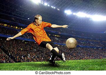 foci játékos, képben látható, mező, közül, stadion