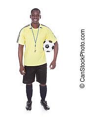foci játékos, noha, egy, focilabda