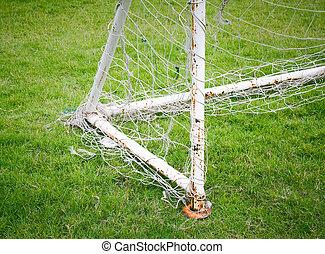 foci kapu, noha, öreg, labdarúgás, háló, alatt, a, field.