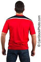 foci rajongó, alatt, piros, mez
