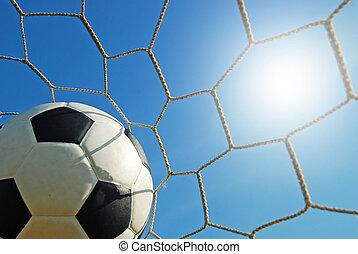 foci terep, futball, stadion, képben látható, a, zöld fű, kék ég, sport