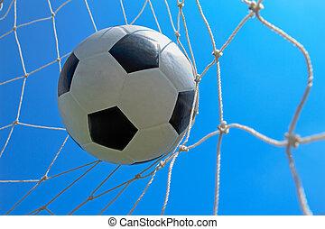 focilabda, alatt, gól, blue, ég