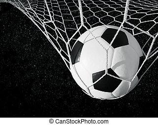 focilabda, alatt, gól, fekete-fehér