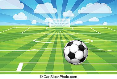 focilabda, elterül fű, közül, a, játék, mező